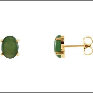Jewelry - 14K Yellow Gold Oval Genuine Green Jade Earrings